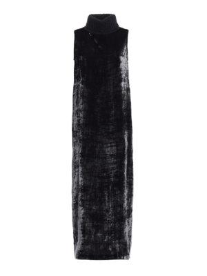 Fabiana Filippi: maxi dresses - Rib-knitted collar velvet dress