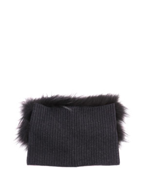 Fabiana Filippi: scarves online - Fox fur and ribbed wool collar