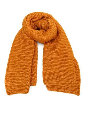 Fabiana Filippi: scarves - Oversize knitted dark yellow scarf