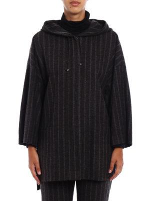 Fabiana Filippi: short coats online - Pinstriped merino blend short coat