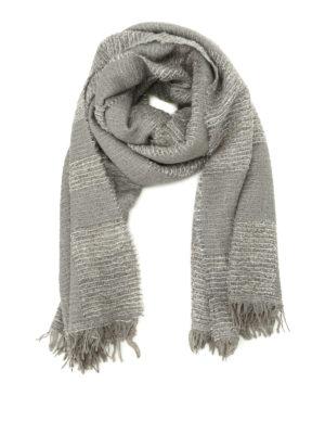 Fabiana Filippi: Stoles & Shawls - Check boucle wool blend pashmina