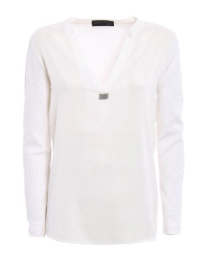 Fabiana Filippi: t-shirts - Long sleeve embellished T-shirt