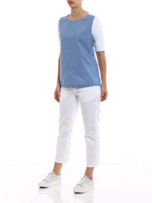 Fabiana Filippi: t-shirts online - Contrasting front ribbed T-shirt
