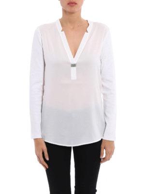 Fabiana Filippi: t-shirts online - Long sleeve embellished T-shirt