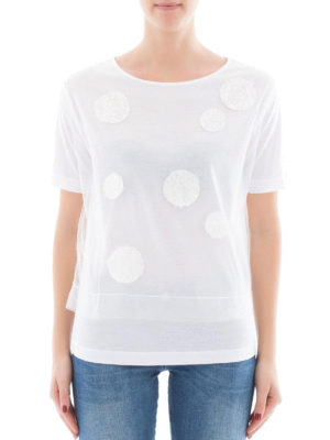 Fabiana Filippi: t-shirts online - Polka dot cotton and tulle T-shirt