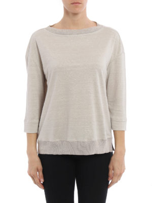 Fabiana Filippi: t-shirts online - Ribbed edges linen T-shirt