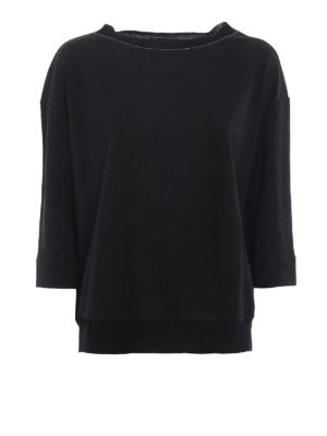 Fabiana Filippi: t-shirts - Ribbed edges linen T-shirt