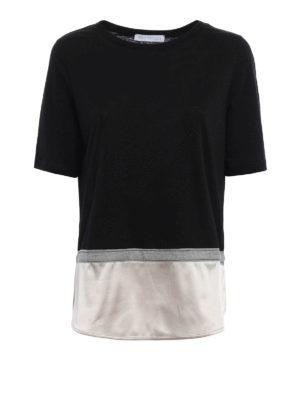 Fabiana Filippi: t-shirts - Silk bottom linen T-shirt