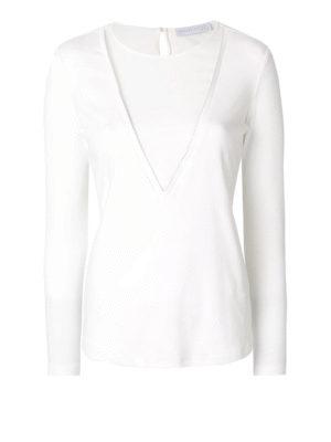 Fabiana Filippi: t-shirts - Stretch cotton long sleeve T-shirt
