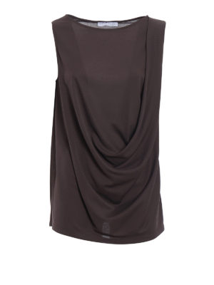 Fabiana Filippi: Tops & Tank tops - Brown crepe cady drapery top