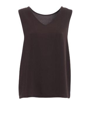 Fabiana Filippi: Tops & Tank tops - Embellished neckline brown top