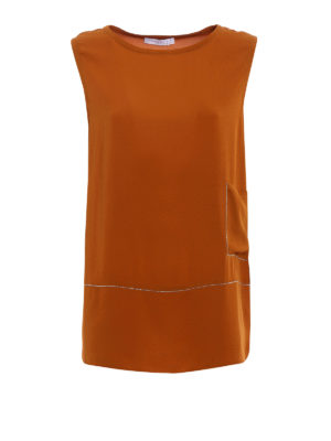 Fabiana Filippi: Tops & Tank tops - Embellished stretch silk long top