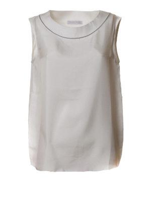 Fabiana Filippi: Tops & Tank tops - Jewel neckline white silk tank top