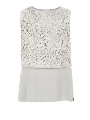 Fabiana Filippi: Tops & Tank tops - Lace and silk crepe combo top