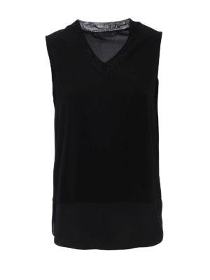 Fabiana Filippi: Tops & Tank tops - Mesh V-neck jersey top