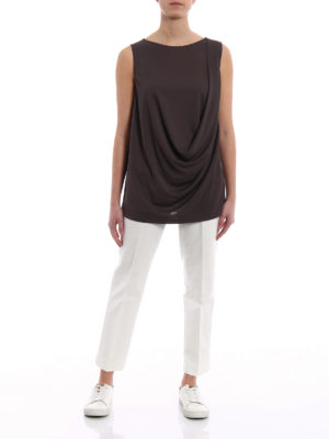 Fabiana Filippi: Tops & Tank tops online - Brown crepe cady drapery top