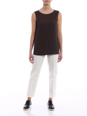 Fabiana Filippi: Tops & Tank tops online - Embellished neckline brown top