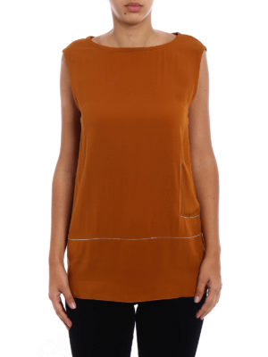 Fabiana Filippi: Tops & Tank tops online - Embellished stretch silk long top