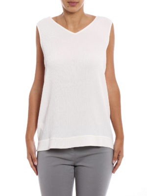 Fabiana Filippi: Tops & Tank tops online - Embellished white textured silk top