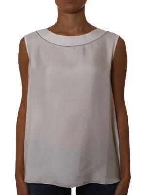 Fabiana Filippi: Tops & Tank tops online - Jewel neckline white silk tank top