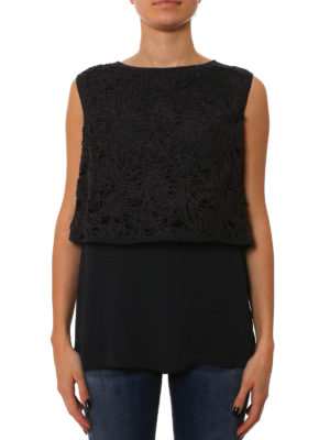 Fabiana Filippi: Tops & Tank tops online - Lace and silk crepe combo top