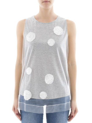 Fabiana Filippi: Tops & Tank tops online - Polka dot cotton and tulle top