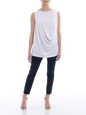 Fabiana Filippi: Tops & Tank tops online - White crepe cady drapery top