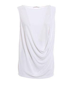 Fabiana Filippi: Tops & Tank tops - White crepe cady drapery top