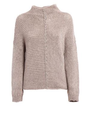 Fabiana Filippi: Turtlenecks & Polo necks - Beige melange wool blend sweater