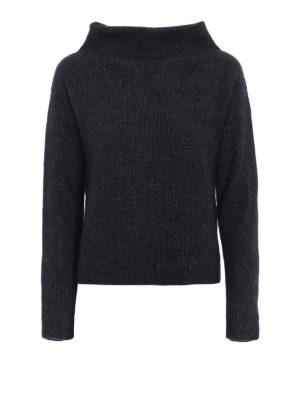 Fabiana Filippi: Turtlenecks & Polo necks - Lurex detailed ribbed wool sweater