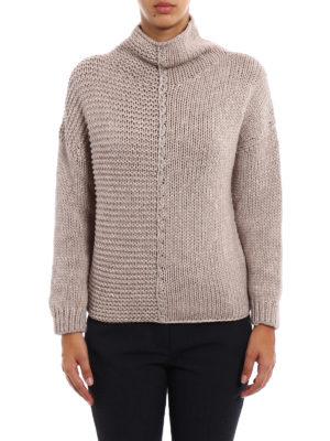 Fabiana Filippi: Turtlenecks & Polo necks online - Beige melange wool blend sweater
