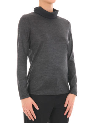 Fabiana Filippi: Turtlenecks & Polo necks online - Chiffon detailed wool turtleneck