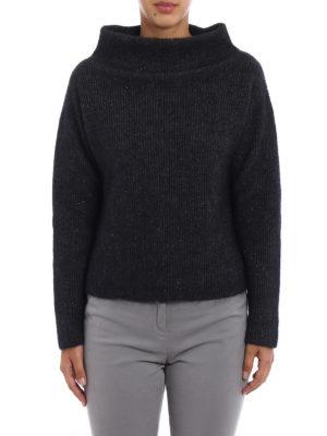 Fabiana Filippi: Turtlenecks & Polo necks online - Lurex detailed ribbed wool sweater