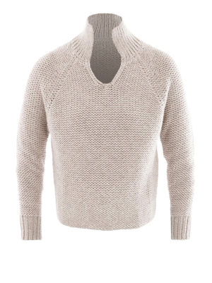 Fabiana Filippi: Turtlenecks & Polo necks - Polo collar Platinum blend jumper