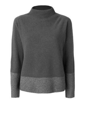 Fabiana Filippi: Turtlenecks & Polo necks - Two-tone Platinum blend sweater