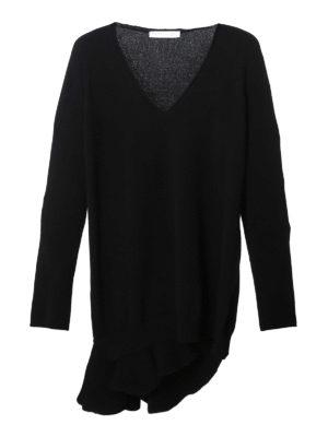 Fabiana Filippi: v necks - Asymmetric frill black wool sweater