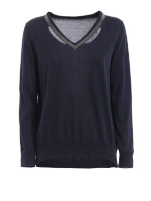 Fabiana Filippi: v necks - Embellished V-neck cotton sweater