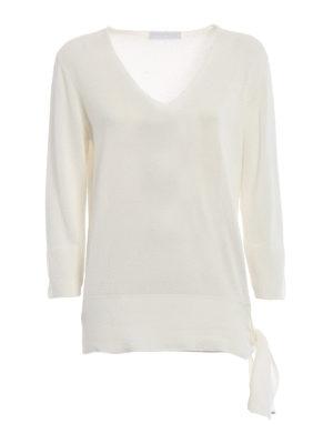 Fabiana Filippi: v necks - Knot detailed white cotton sweater