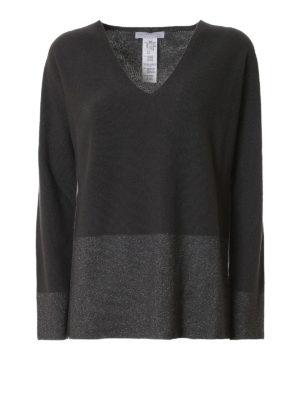 Fabiana Filippi: v necks - Lurex bottom dark grey wool sweater