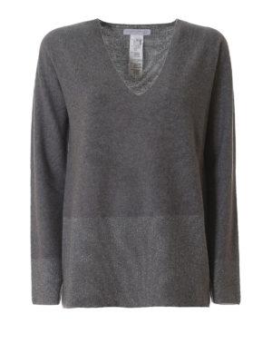 Fabiana Filippi: v necks - Lurex panelled grey wool sweater