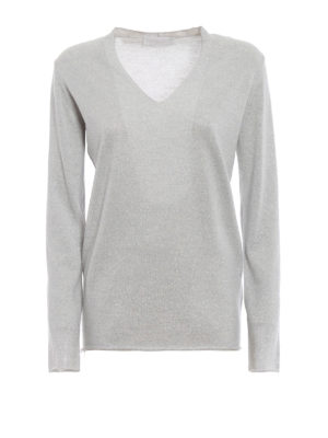 FABIANA FILIPPI: maglia collo a v - Maglia a V in lana merino e lurex