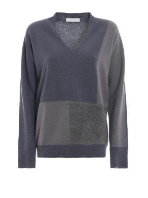 FABIANA FILIPPI: maglia collo a v - Pullover patchwork in misto lana merino