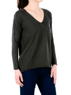 Fabiana Filippi: v necks online - Embellished cotton V-neck sweater
