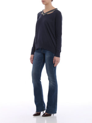 Fabiana Filippi: v necks online - Embellished V-neck cotton sweater