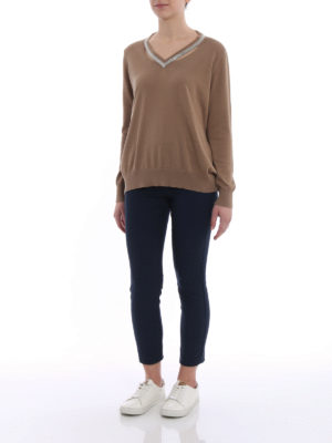 Fabiana Filippi: v necks online - Embellished V-neck sweater