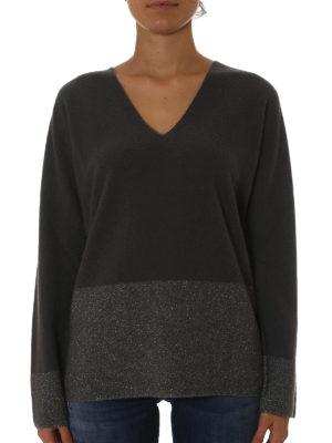 Fabiana Filippi: v necks online - Lurex bottom dark grey wool sweater