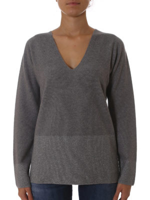 Fabiana Filippi: v necks online - Lurex panelled grey wool sweater