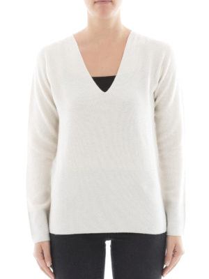 Fabiana Filippi: v necks online - Purl knit Platinum blend sweater