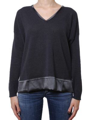 Fabiana Filippi: v necks online - Satin edges linen boxy V-neck