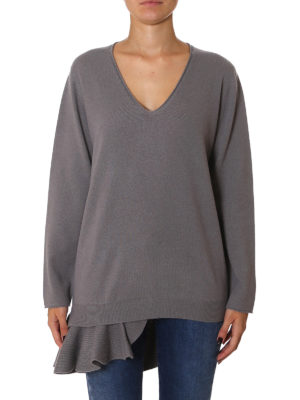 Fabiana Filippi: v necks online - Wool sweater with asymmetric frill